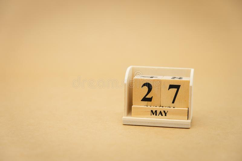 May 27 wooden calendar on vintage wood abstract background. using as background Universal day concept with copy space for your. Text or design royalty free stock images