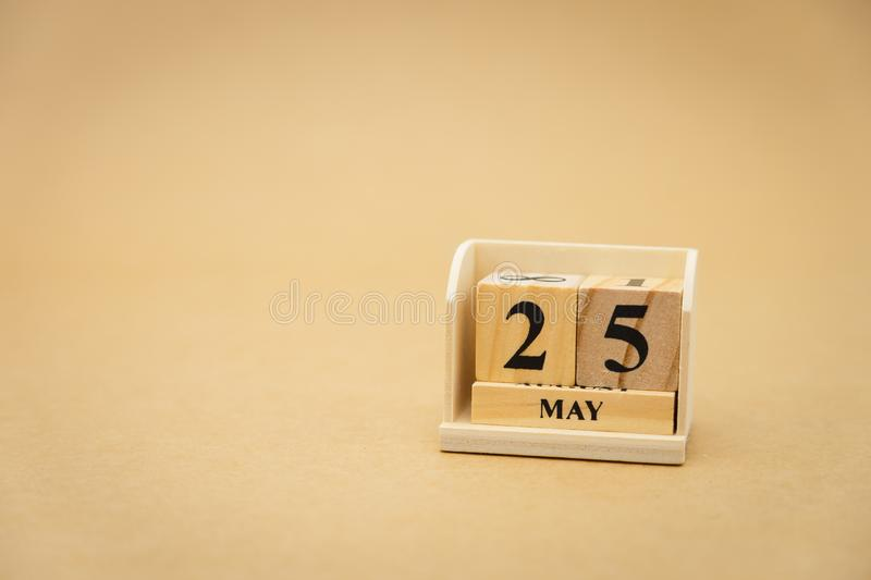 May 25 wooden calendar on vintage wood abstract background. using as background Universal day concept with copy space for your. Text or design royalty free stock images