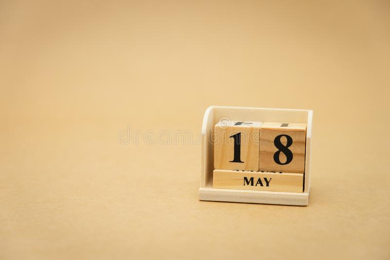 May 18 wooden calendar on vintage wood abstract background. using as background Universal day concept with copy space for your. Text or design royalty free stock photography