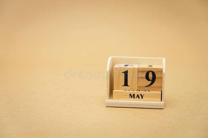 May 19 wooden calendar on vintage wood abstract background. using as background Universal day concept with copy space for your. Text or design royalty free stock images