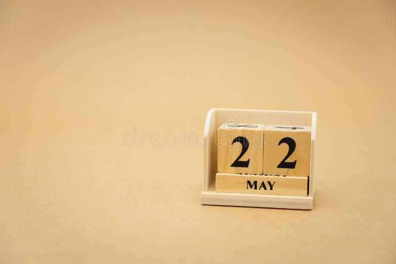 May 22 wooden calendar on vintage wood abstract background. using as background Universal day concept with copy space for your. Text or design royalty free stock photos