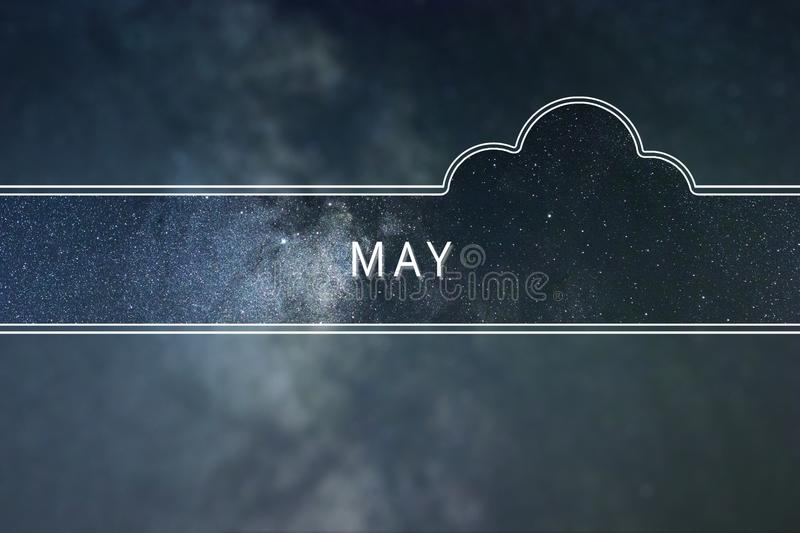 MAY word cloud Concept. Space background. royalty free stock images