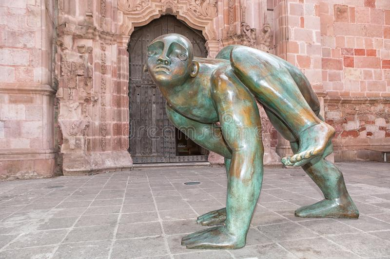 Modern statue exhibited publicly in Zacatecas Mexico. May 20, 2014 Zacatecas, Mexico: modern staue exhibited publicly on the street of the UNESCO World Heritage stock photography