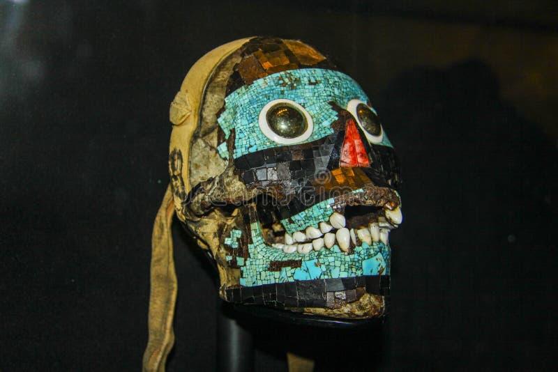 Maya art sculpture of human head. Fantastic Maya art sculpture of human head, decorated with mosaic tiles stock photos