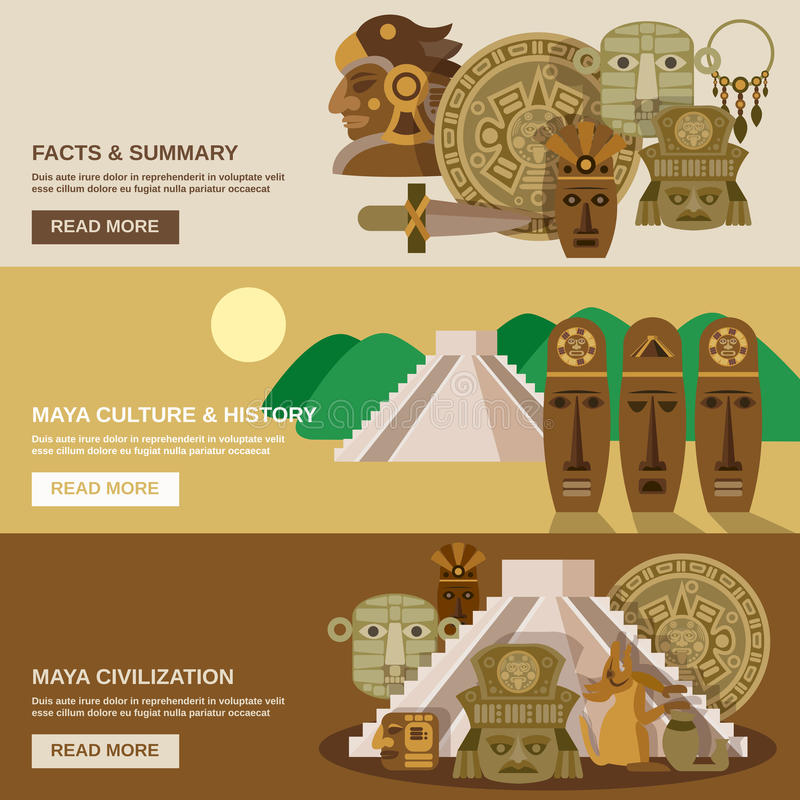 Maya Banner Set ilustração do vetor