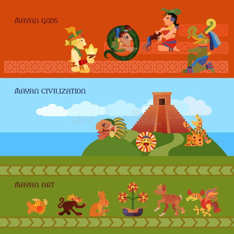 Maya Banners Set ilustração do vetor