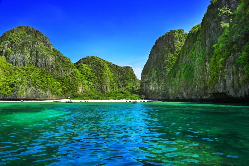 Maya Bay. View of Maya Bay, Phi Phi island, Thailand royalty free stock photos