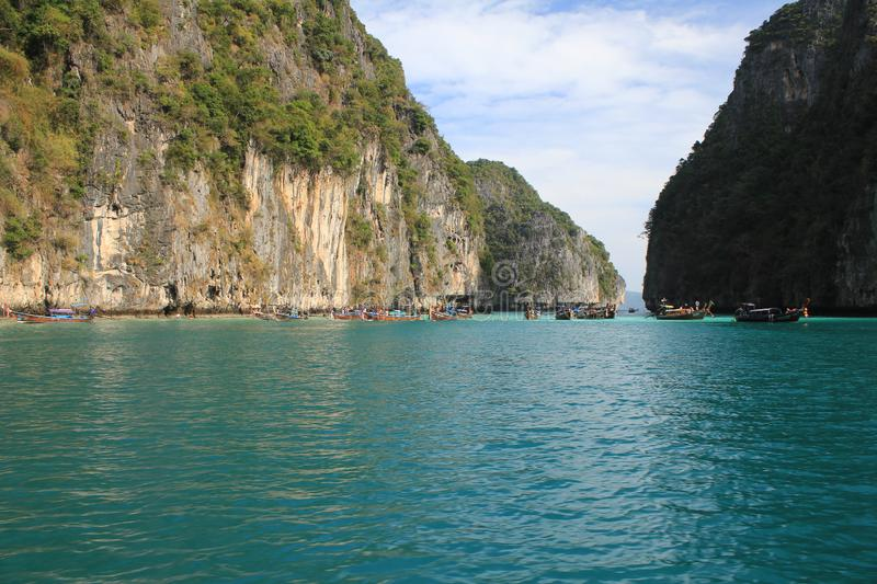Maya Bay is the most beautiful paradise beach in Thailand. stock photography