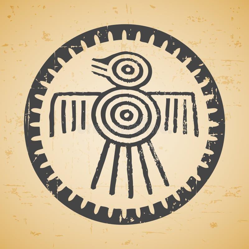Maya bird. Abstract maya stylized bird on seamless retro background royalty free illustration