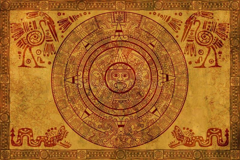 Maya calendar. On ancient parchment vector illustration