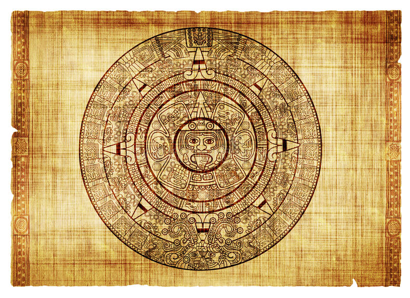 Maya calendar. On ancient parchment stock illustration