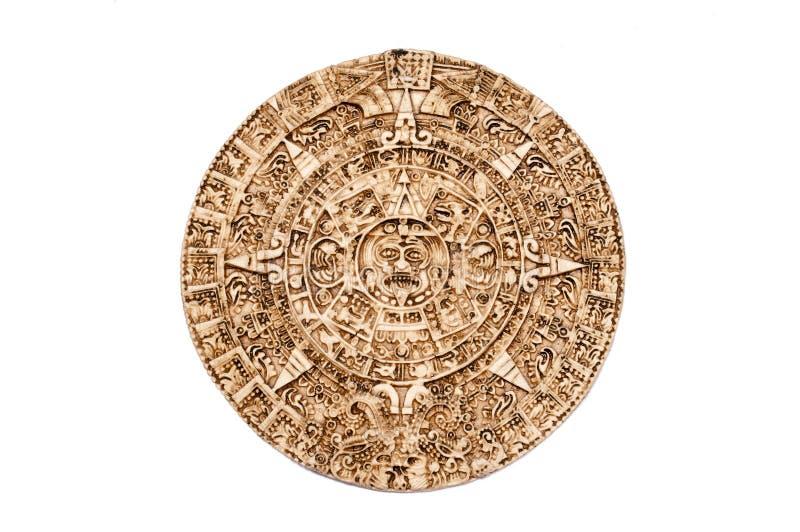Maya calendar. Light brown Maya calendar isolated on white background royalty free stock photos