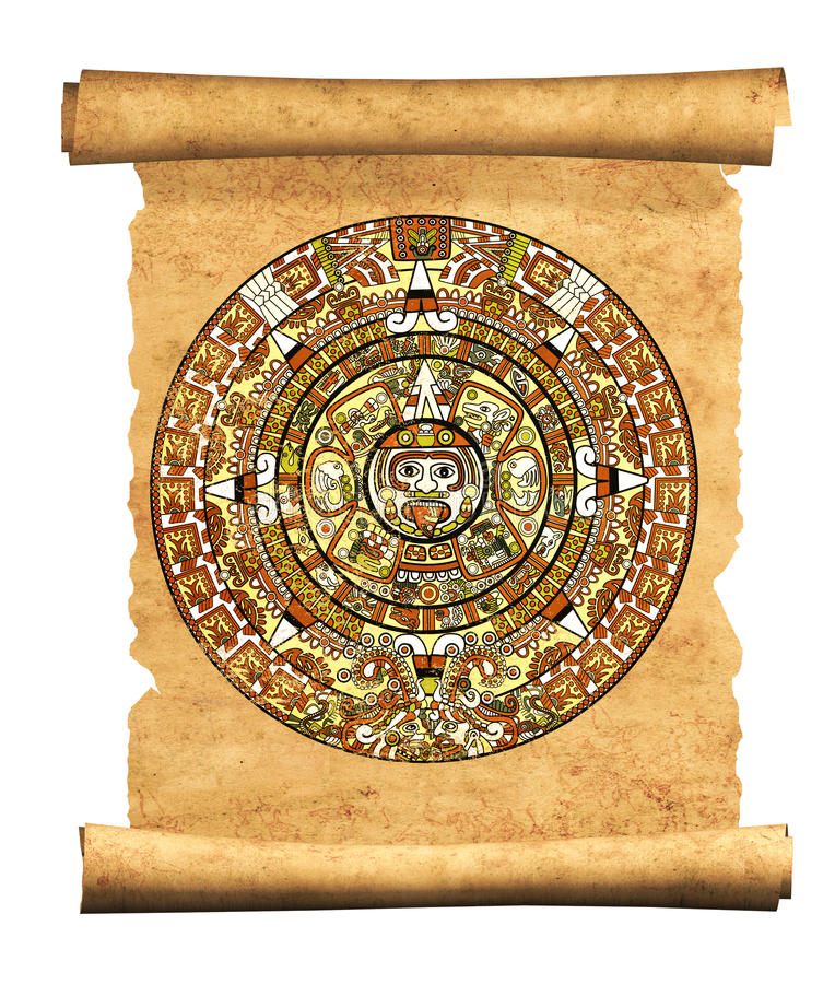 Maya calendar. On ancient parchment - over white royalty free illustration