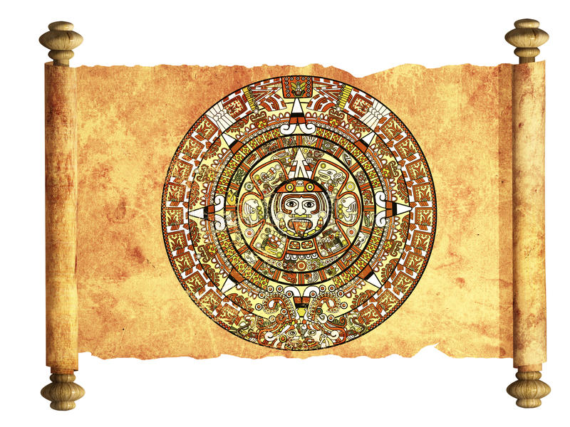 Maya calendar. On ancient parchment - over white stock illustration