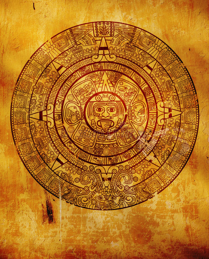 Maya calendar. On ancient wall royalty free illustration