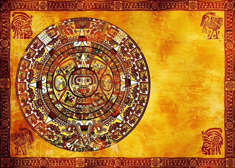 Maya calendar. On ancient wall stock illustration