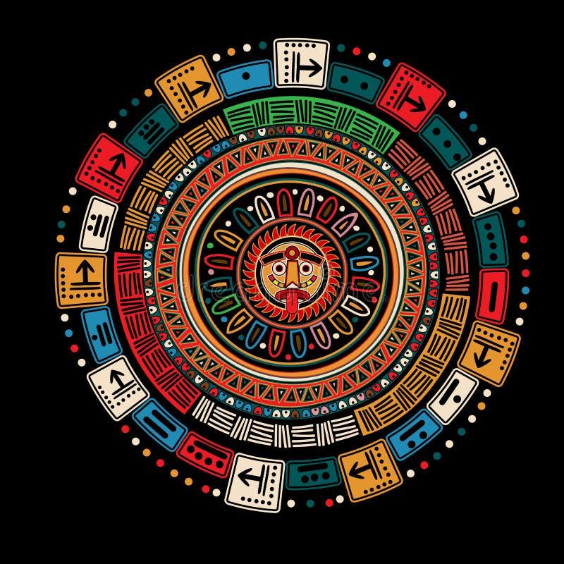 Maya calendar. Over black background vector illustration