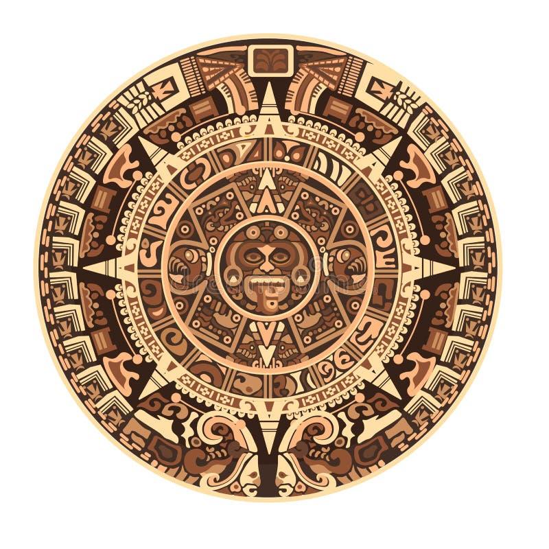 Maya calendar of Mayan or Aztec vector hieroglyph signs and symbols. Maya calendar of Mayan or Aztec hieroglyph signs and symbols. Vector isolated round circle stock illustration