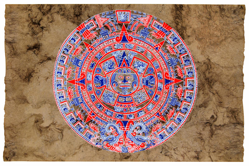 Maya calendar parchment. Maya calendar painted by zapotec native of Oaxaca, Mexico on amate paper vector illustration