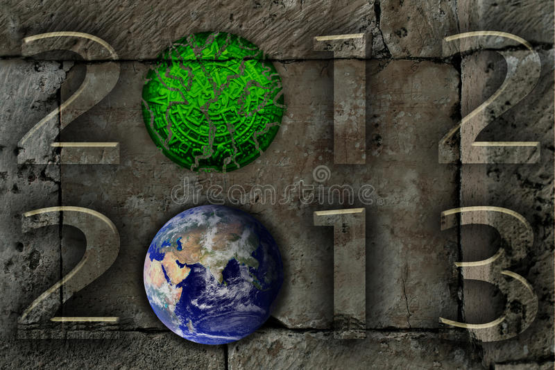 Maya calendar prophecy. Maya myth busted. 2012 digits with broken mayan calendar and 2013 with earth map from NASA. Grey stone background. Earth map courtesy of royalty free illustration