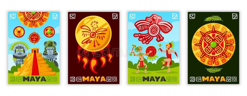 Maya Civilization Banners Collection vector illustration