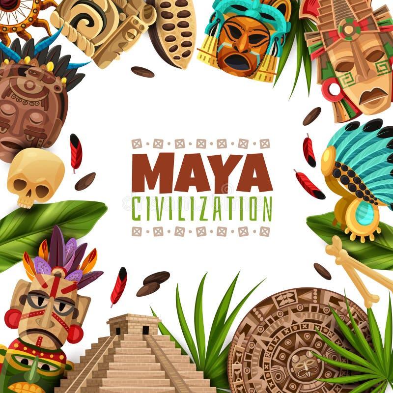 Maya Civilization Cartoon Frame royalty free illustration