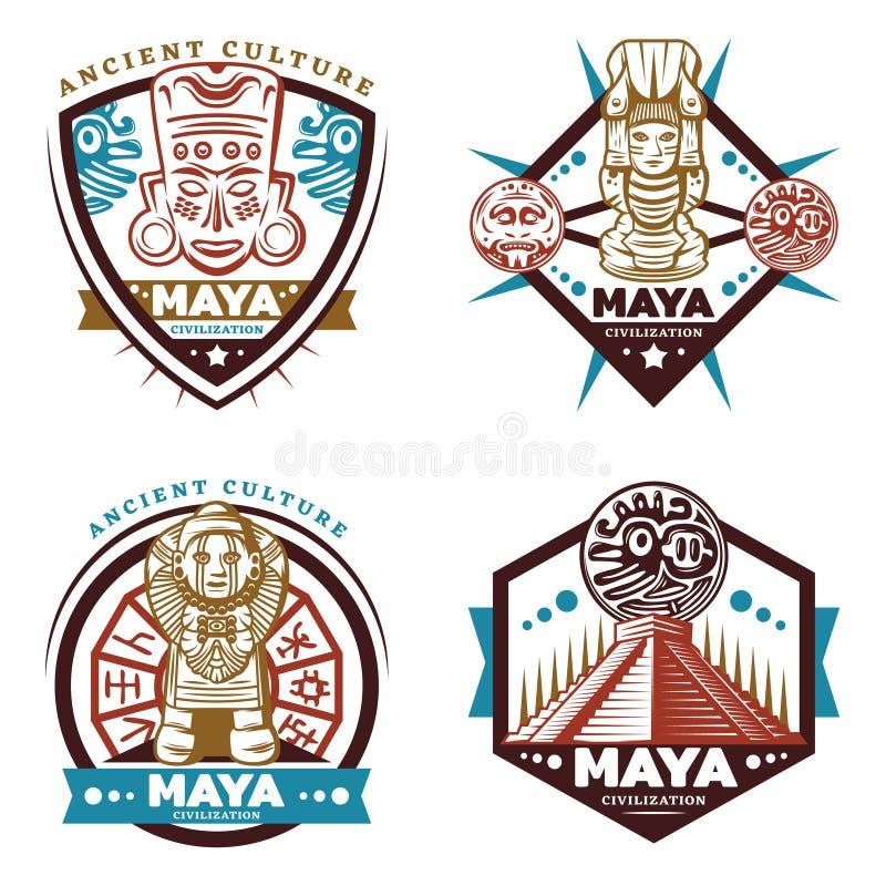 Maya Civilization Emblems Set colorida vintage ilustração do vetor