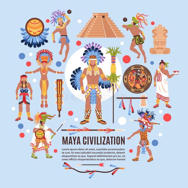 Maya Civilization Flat Background ilustração stock