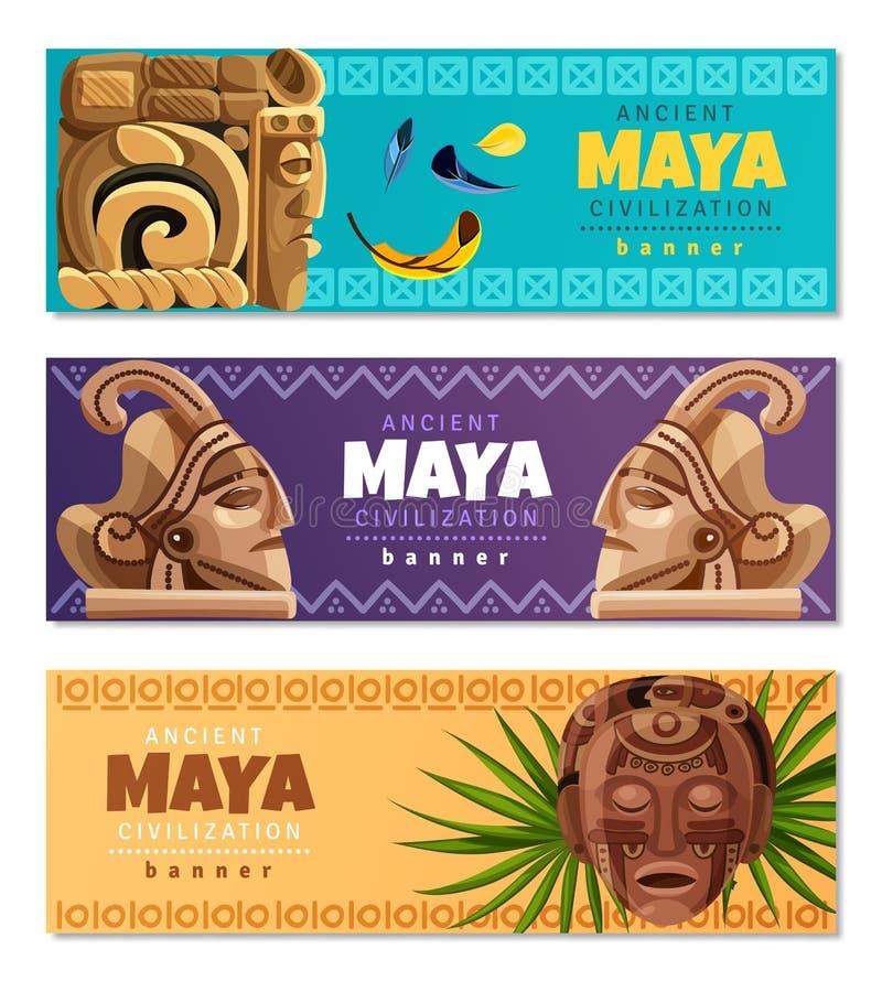 Maya Civilization Horizontal Banners ilustração royalty free