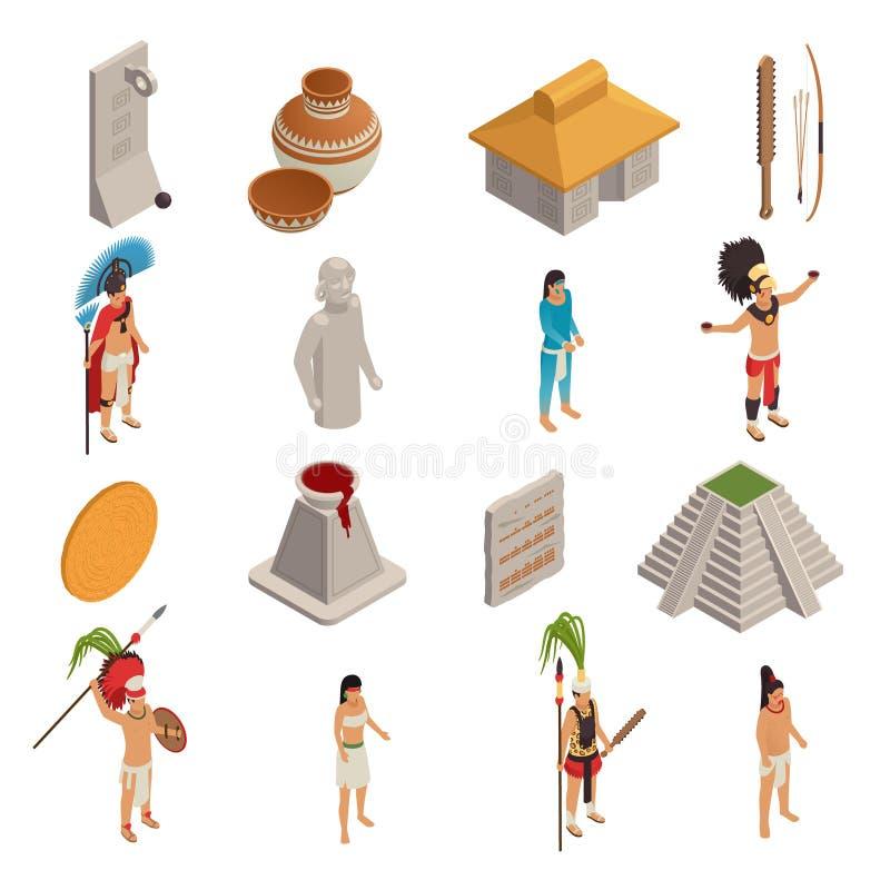 Maya Civilization Isometric Icons ilustração stock
