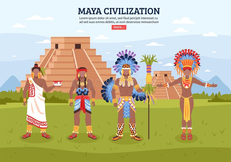 Maya Civilization Landscape Background ilustração stock