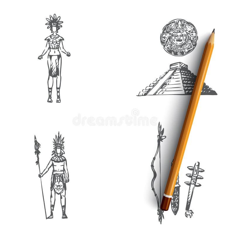 Maya civilization - Maya people, tools and pyramid vector concept set vector illustration