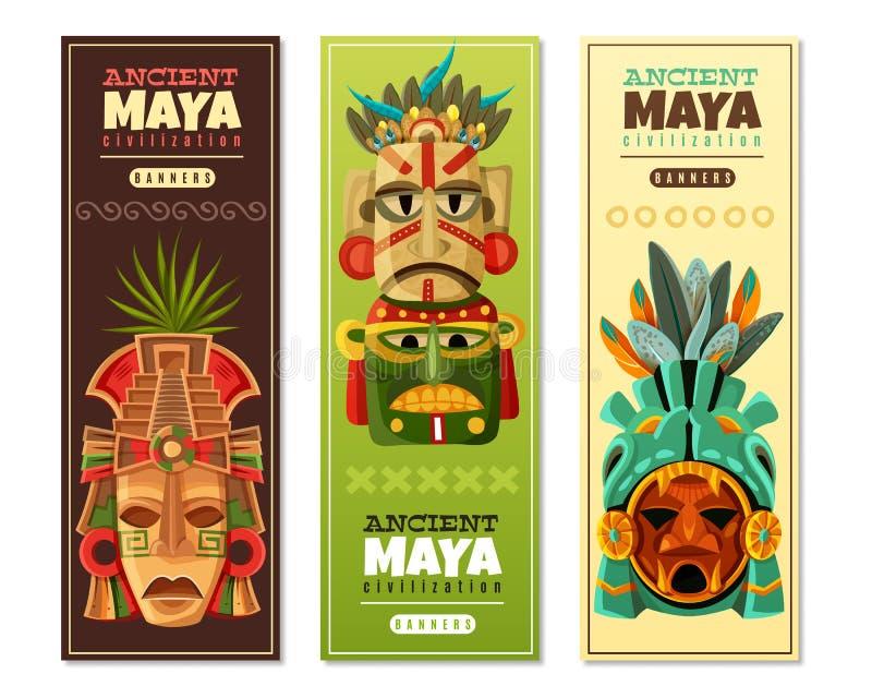 Maya Civilization Vertical Banners ilustração do vetor