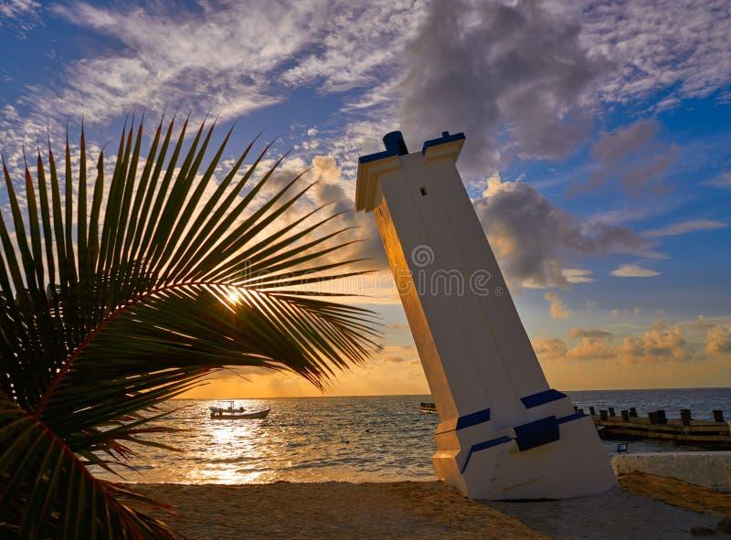 Maya de la Riviera de phare de lever de soleil de Puerto Morelos images libres de droits