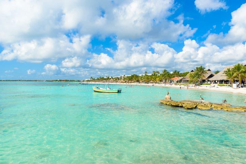 Maya de la Riviera - plage Akumal de paradis chez Cancun, Quintana Roo, Mexique - c?te des Cara?bes - destination tropicale pour  image libre de droits