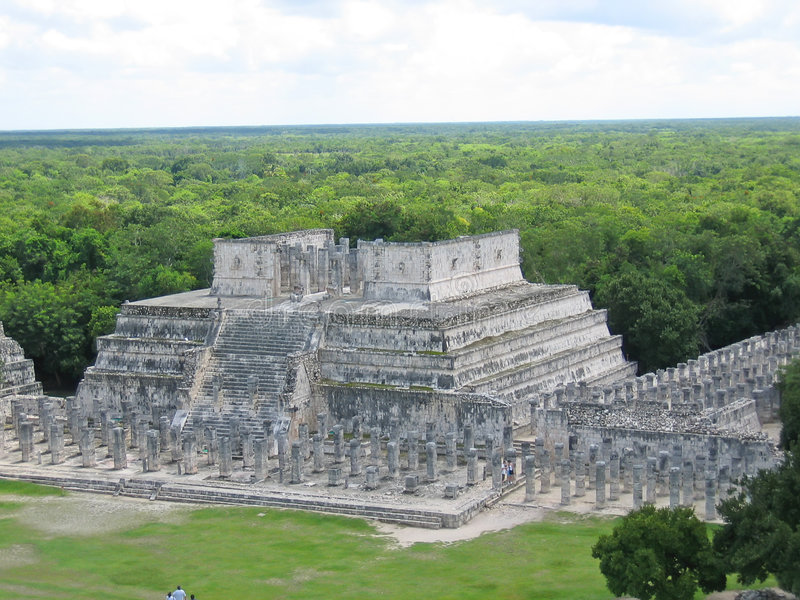 Maya de pyramide avec la jungle images libres de droits
