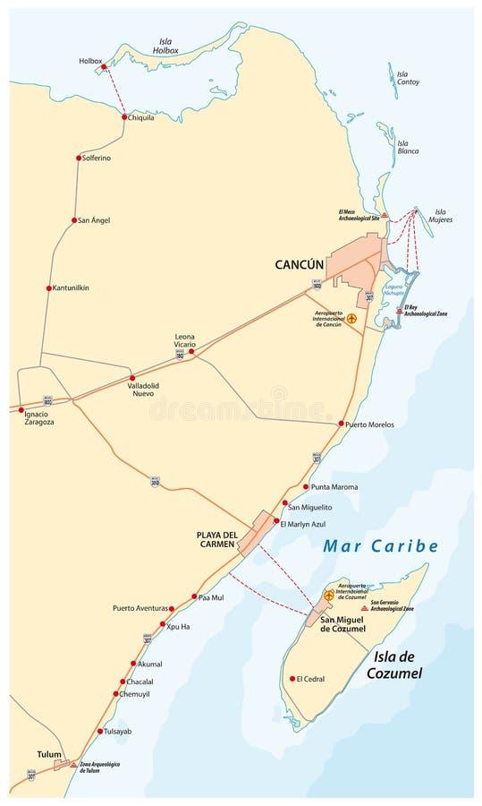 Maya de Riviera e o mapa do vetor da estrada da ilha de Holbox ilustração stock