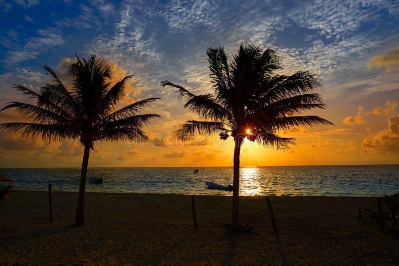 Maya del Caribe de Riviera de las palmeras de la salida del sol imágenes de archivo libres de regalías