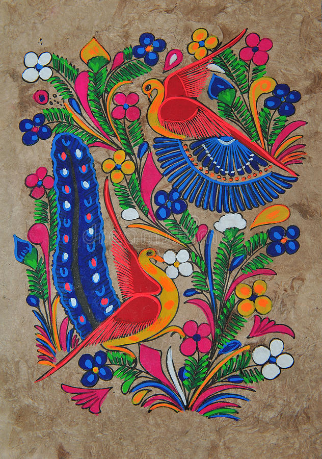 Maya drawing. The image shows a painting typical of mayan culture in mexico, the colors are produced from crops and the canvas of the drawing is produced in skin stock image