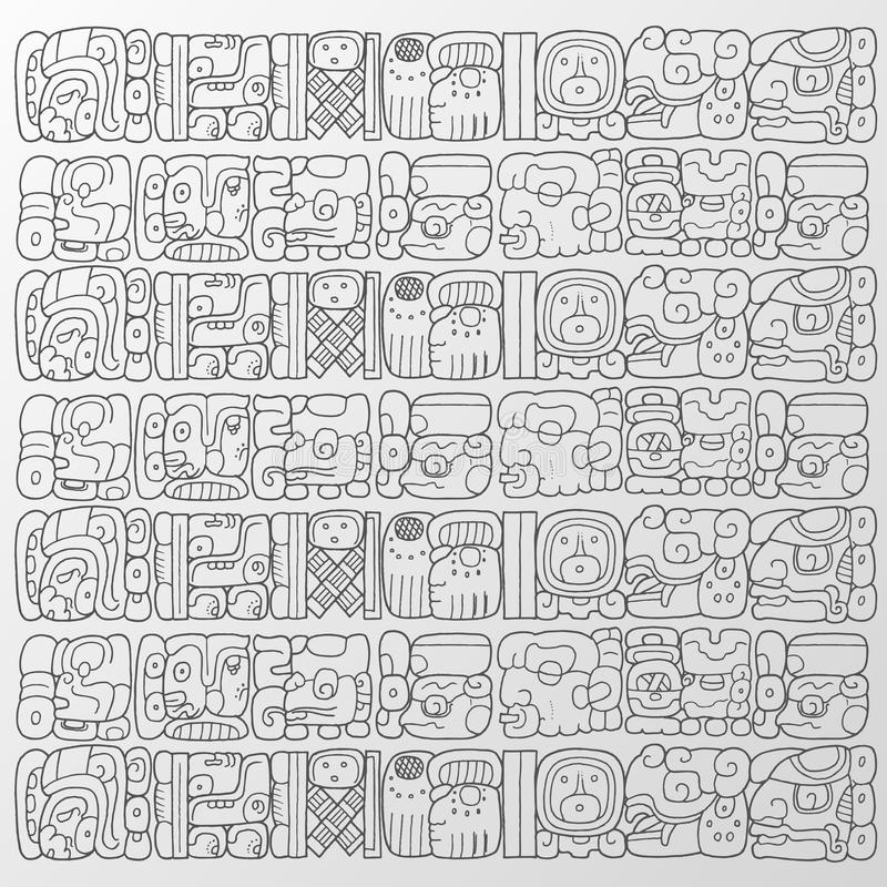 Maya glyphs background. Vector handmade illustration of some maya glyphs as background or wallpaper