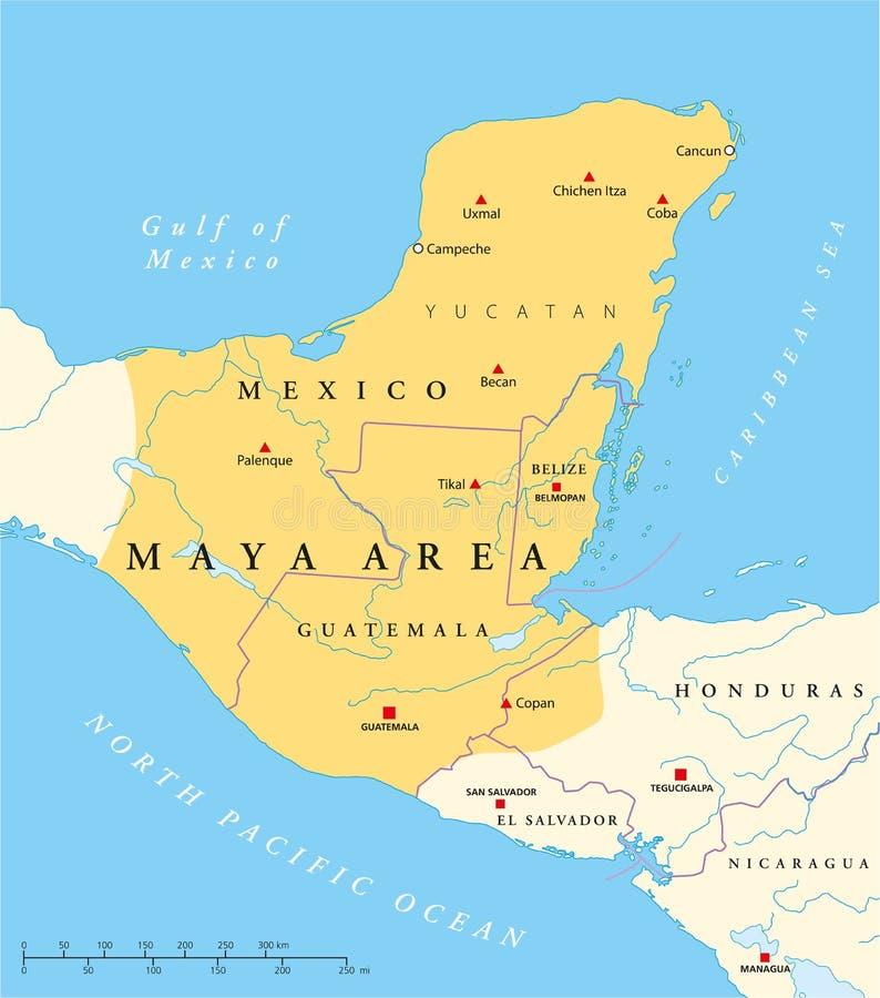 Maya High Culture Area Map ilustração stock
