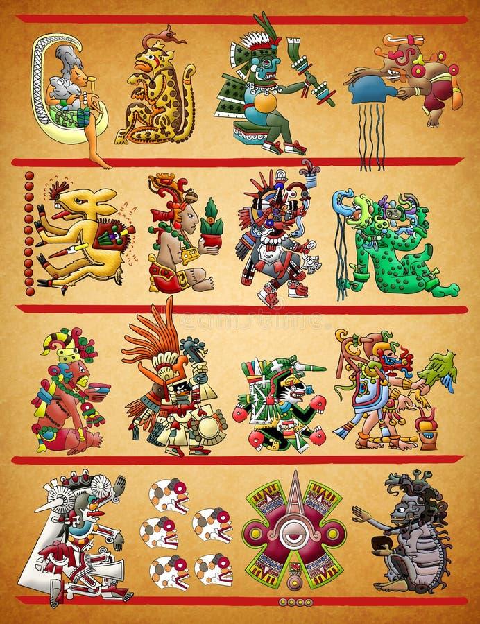 Maya - illustration aztèque de codex illustration libre de droits