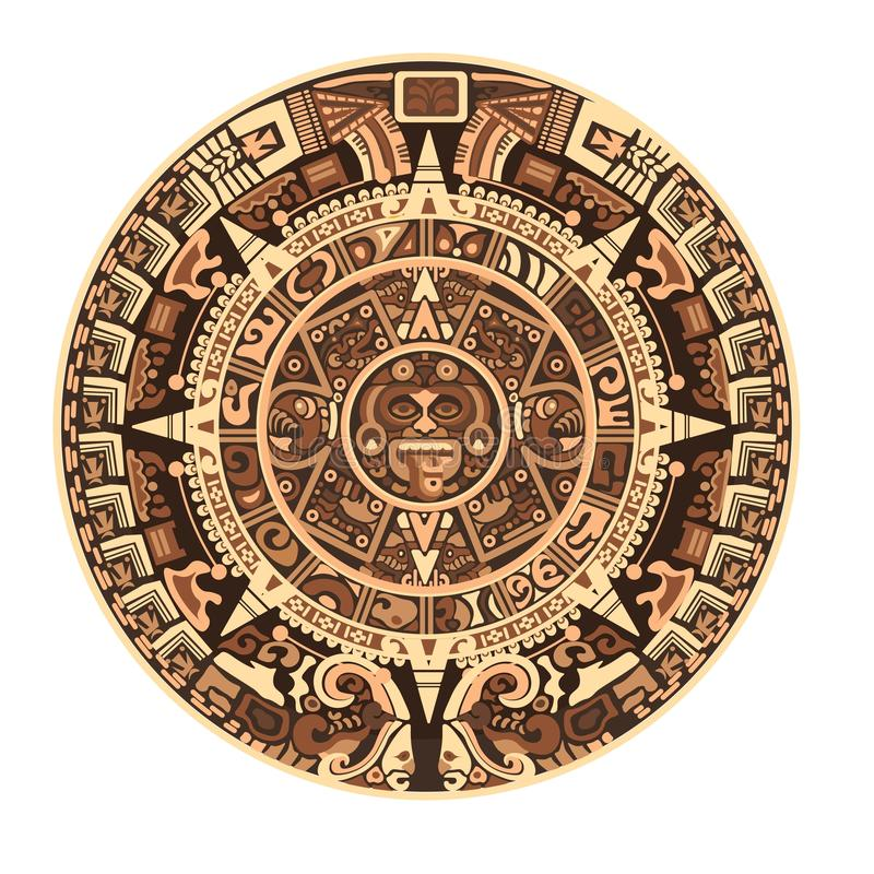 Maya kalender van Mayan of Azteekse vectorhiëroglieftekens en symbolen stock illustratie