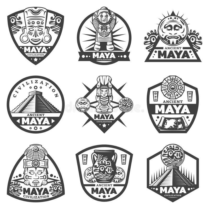 Maya Labels Set monocromatica d'annata illustrazione di stock