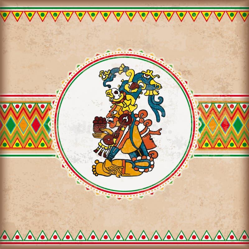Maya mexicano do emblema dos ornamento da tampa do vintage ilustração do vetor