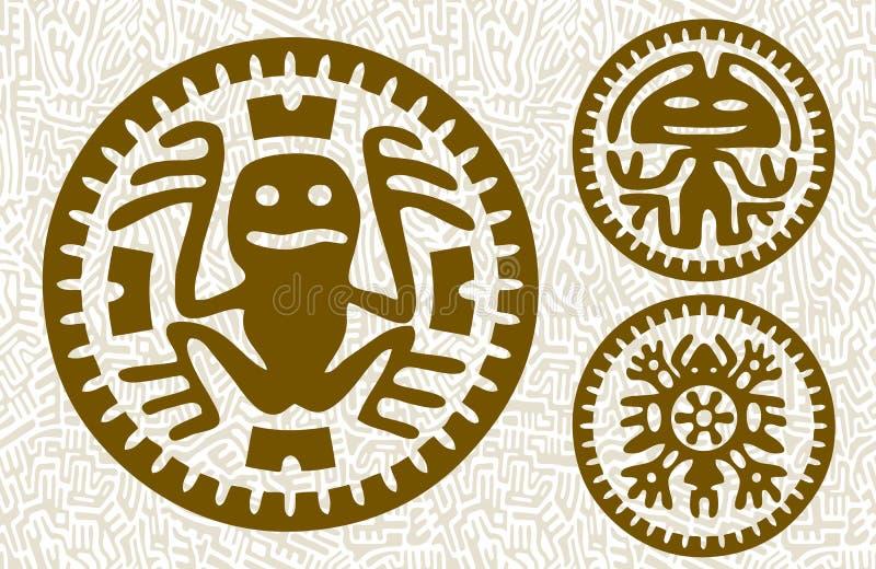 Maya monsters. Abstract stylized maya animals and aliens on seamless background stock illustration