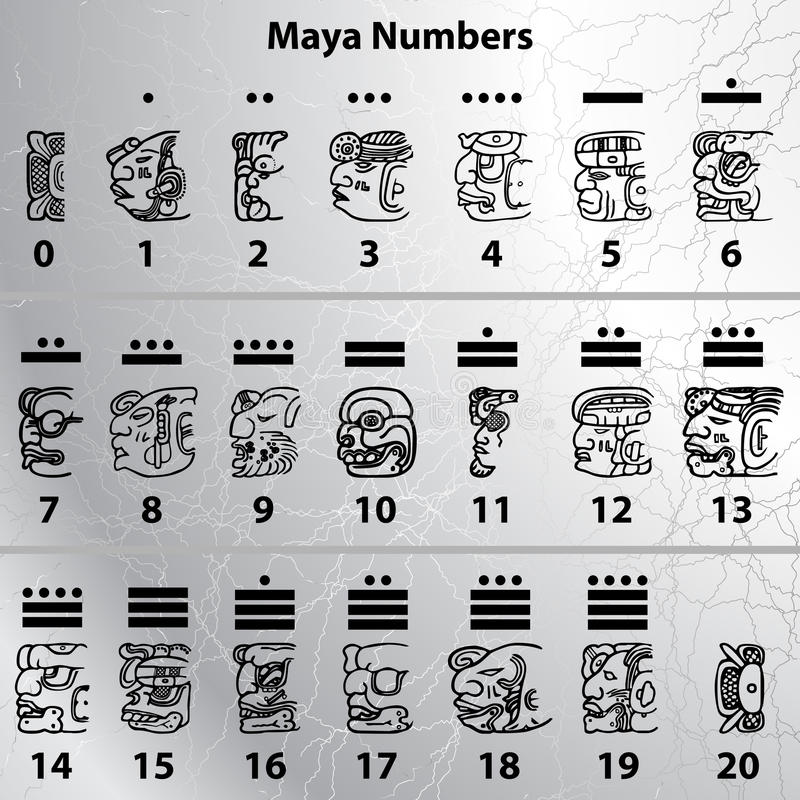 Maya numbers stock illustration