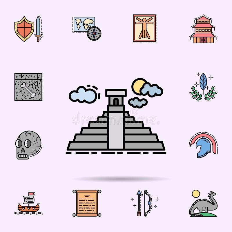 Maya piramide, Mexico, de bouwpictogram Universele reeks van geschiedenis voor websiteontwerp en ontwikkeling, app ontwikkeling stock illustratie