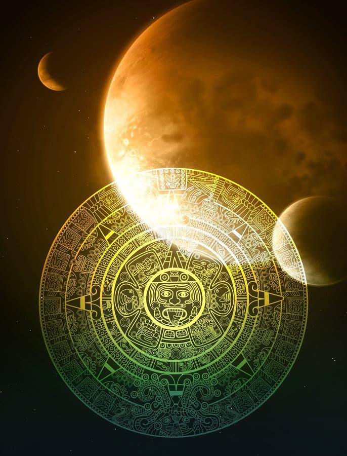 Maya prophecy. Vertical background with Maya calendar royalty free illustration