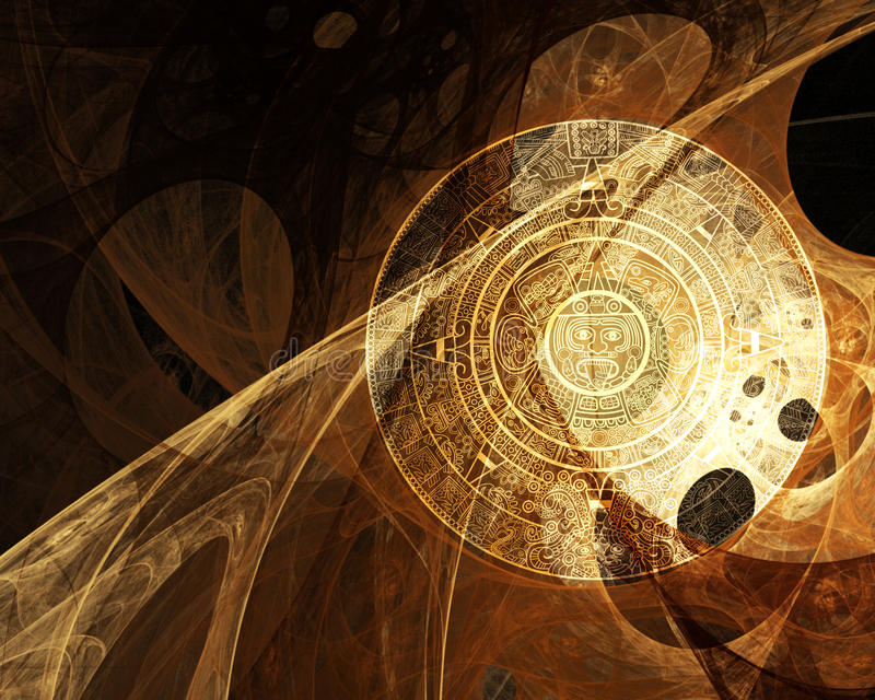 Maya prophecy. Horizontal background with Maya calendar royalty free illustration